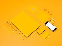 Желтый модель-макет фирменного стиля Стоковые Фотографии RF