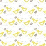 Желтый петь птиц Пэт влюбленности цветастого безшовного Стоковое Изображение RF
