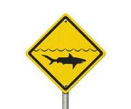 Желтый предупредительный знак акулы Стоковое Изображение RF