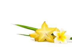 Желтый плодоовощ карамболы изолированный на белой предпосылке Стоковая Фотография RF