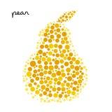 Желтый силуэт груши созданный от точек Стоковые Изображения RF