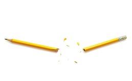 Желтый сломанный карандаш стоковое фото rf