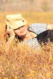 Желтый луг в ярких днях Стоковые Фотографии RF