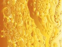 Желтый флористический винтажный вектор картины Стоковое фото RF