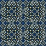 Желтый цветочный узор на голубой предпосылке Стоковая Фотография