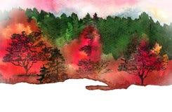 желтый цвет вала неба голубого пасмурного ландшафта поля падения сиротливый иллюстрация штока