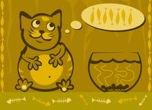 желтый цвет вектора иллюстрации кота шаржа Стоковое Изображение RF