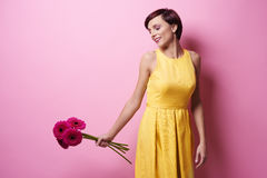 желтый цвет женщины весны принципиальной схемы зеленый Стоковые Фото