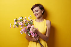 желтый цвет женщины весны принципиальной схемы зеленый Стоковая Фотография RF