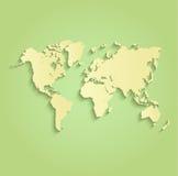 Желтый цвет зеленого цвета карты мира Стоковые Изображения RF
