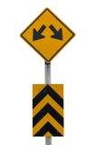 Желтый цвет знака уличного движения, двухсторонний Стоковые Изображения RF