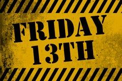 Желтый цвет знака Friday 13th с нашивками Стоковые Фотографии RF