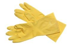 желтый цвет изолированный перчатками резиновый белый Стоковая Фотография RF