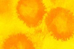 Желтый цвет и апельсин, чернила и пастельная предпосылка Стоковое Изображение