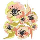 желтый цвет картины сердца цветков падения бабочки флористический иллюстрация вектора