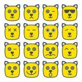 Желтый цвет квадрата emoji кота эмоциональный смотрит на значок иллюстрация штока