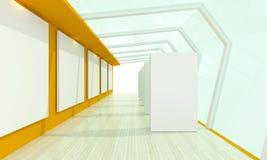 Желтый цвет комнаты галереи стеклянный Стоковые Фотографии RF