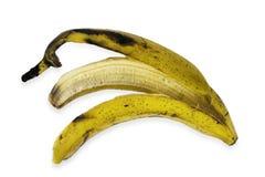 желтый цвет корки банана предпосылки изолированный плодоовощ белый Стоковые Изображения RF