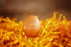 желтый цвет пасхального яйца предпосылки Концепция счастливая пасха Стоковая Фотография