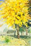 Желтый цвет пейзажной живописи акварели первоначально, оранжевый цвет g иллюстрация вектора