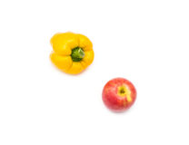 Желтый цвет перца и красный цвет Яблока Стоковая Фотография RF