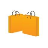 желтый цвет покупкы мешка зацепляет икону Стоковые Фотографии RF