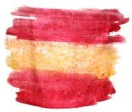 Желтый цвет помаркой краски выплеска, красная Испания, wate цвета watercolour флага Стоковая Фотография