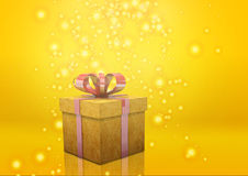 Желтый цвет подарочной коробки Стоковая Фотография