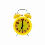желтый цвет предпосылки сигнала тревоги изолированный часами белый Стоковая Фотография