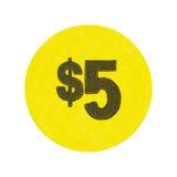Желтый цвет стикер распродажи старых вещей 5 долларов Стоковая Фотография RF
