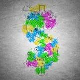 желтый цвет стороны доллара принципиальной схемы крупного плана ся Стоковое Изображение RF