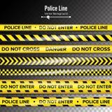 Желтый цвет с черной линией полиции Не войдите в, опасность Ленты карантина безопасностью Изолированный на прозрачной предпосылке иллюстрация штока