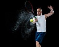 желтый цвет тенниса неба ракетки конкуренции шарика действия голубой стоковые изображения rf