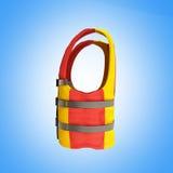 Желтый цвет 3d спасательного жилета красный представляет на голубой предпосылке бесплатная иллюстрация