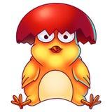 Желтый цыпленок пасхи с раковиной яичка на своей голове Стоковое Изображение