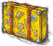Желтый чемодан Стоковые Изображения