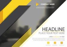 Желтый черный дизайн вектора крышки рогульки брошюры дела треугольника, листовка рекламируя абстрактную предпосылку, современную  Стоковое Изображение