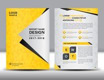 Желтый шаблон рогульки брошюры годового отчета крышки Стоковые Фотографии RF