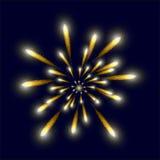 Желтый яркий фейерверк в небе Стоковые Изображения