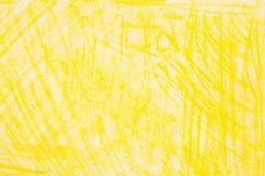 Желтый crayon doodles текстура предпосылки Стоковые Изображения