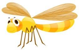 Желтый dragonfly на белой предпосылке иллюстрация вектора