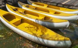 Желтый rowing шлюпки Стоковые Фото