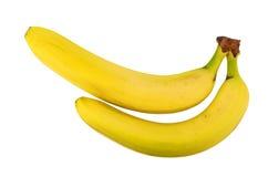2 желтых банана изолированного на белизне Стоковая Фотография RF