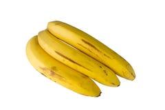 3 желтых банана изолированного на белизне Стоковые Фотографии RF