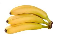 3 желтых банана изолированного на белой предпосылке Стоковое Изображение