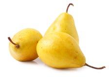 3 желтых груши изолированной на белизне Стоковые Фото