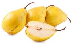 3 желтых груши изолированной на белой предпосылке Стоковое фото RF