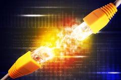 2 желтых кабеля компьютера Стоковые Изображения