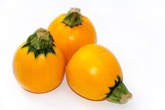 3 желтых овоща цукини на белизне Стоковые Фото