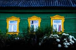 3 желтых окна Стоковые Изображения